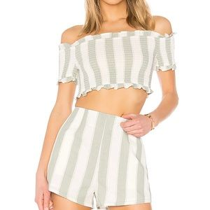 Poetic Stripe Smock Top in Sage White Cap Sleeves